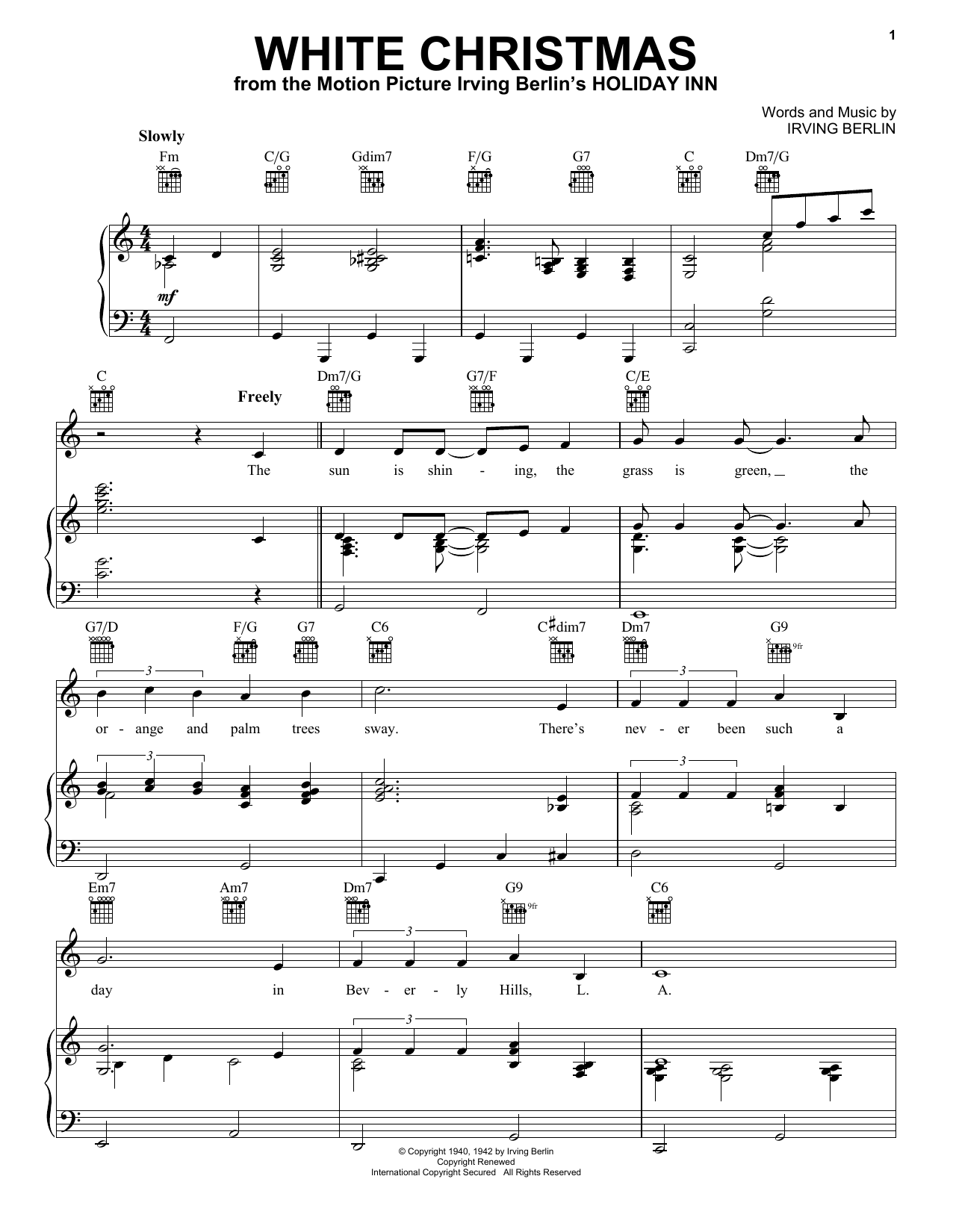 Irving Berlin White Christmas sheet music notes and chords. Download Printable PDF.