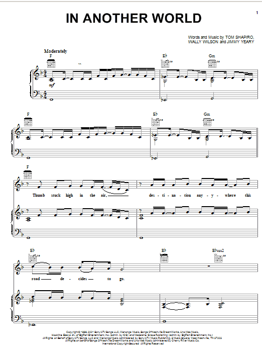 Joe Diffie In Another World sheet music notes and chords. Download Printable PDF.