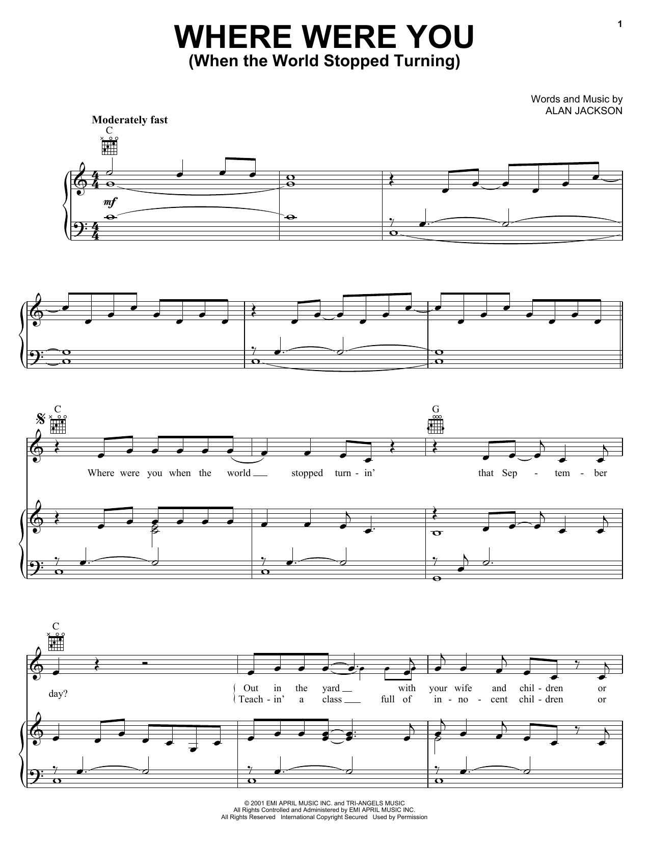 Alan Jackson Where Were You (When The World Stopped Turning) sheet music notes and chords. Download Printable PDF.