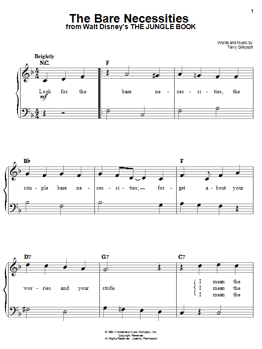 Terry Gilkyson The Bare Necessities (from Disney's The Jungle Book) sheet music notes and chords. Download Printable PDF.