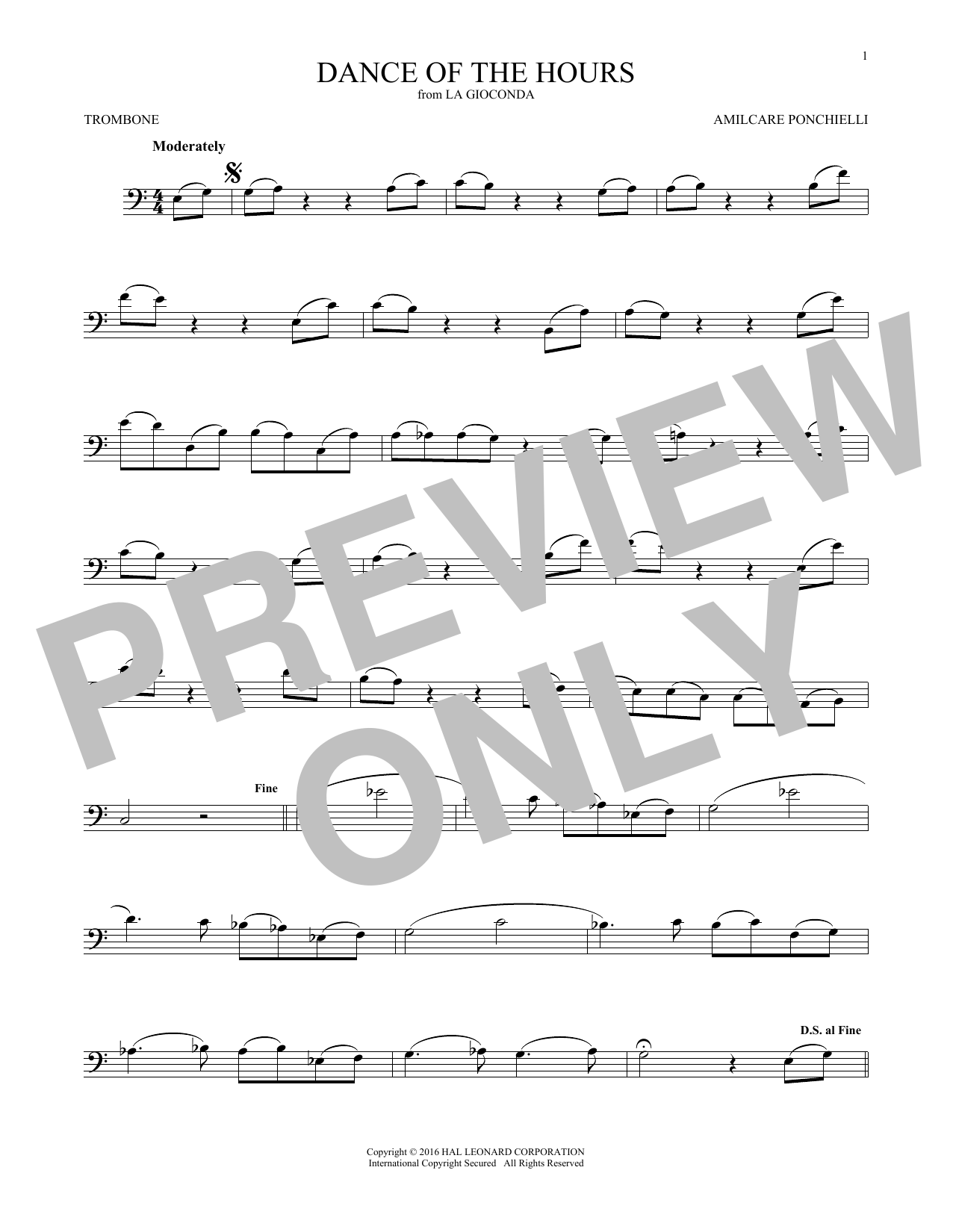 A. Ponchielli Dance Of The Hours sheet music notes and chords. Download Printable PDF.