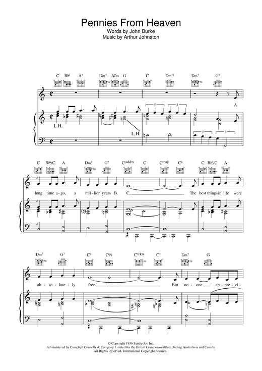 Bing Crosby Pennies From Heaven sheet music notes and chords. Download Printable PDF.