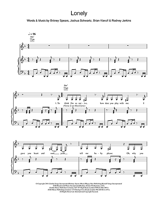 Britney Spears Lonely sheet music notes and chords. Download Printable PDF.