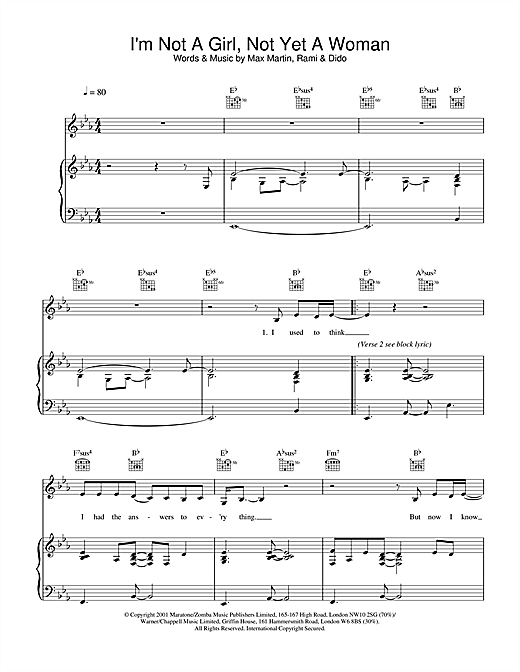 Britney Spears I'm Not A Girl, Not Yet A Woman sheet music notes and chords. Download Printable PDF.