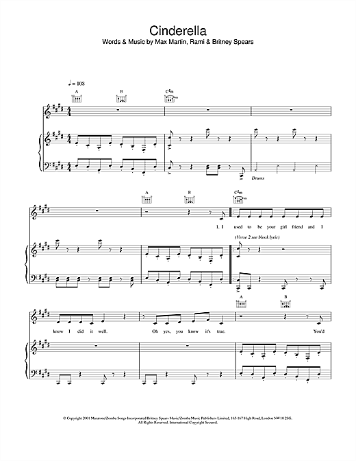 Britney Spears Cinderella sheet music notes and chords. Download Printable PDF.