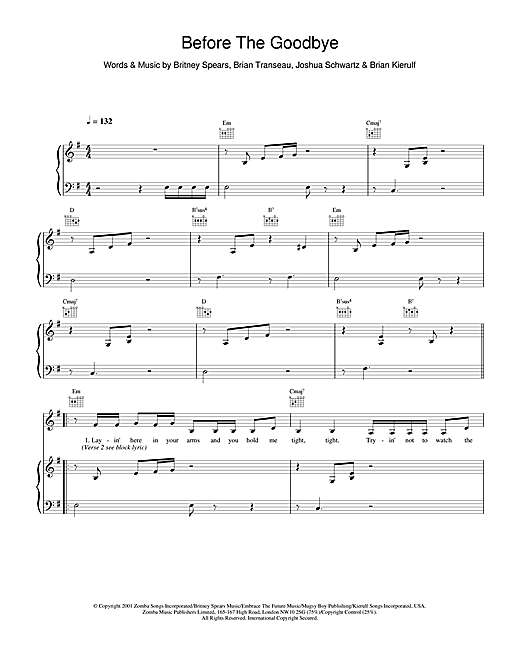 Britney Spears Before The Goodbye sheet music notes and chords. Download Printable PDF.