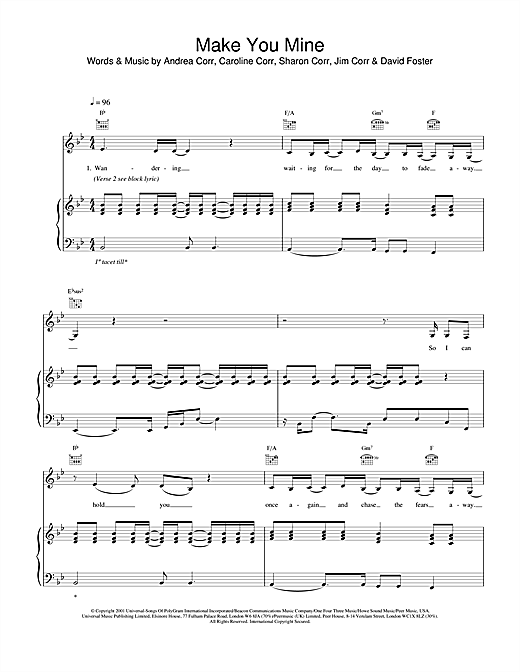 The Corrs Make You Mine sheet music notes and chords. Download Printable PDF.