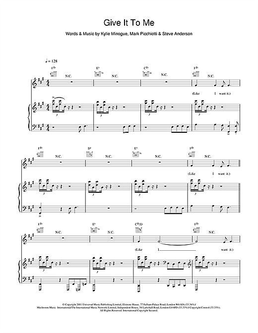 Kylie Minogue Give It To Me sheet music notes and chords. Download Printable PDF.