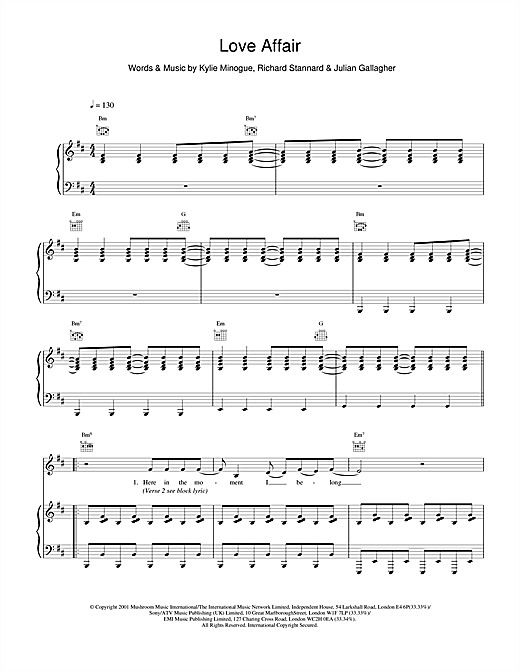 Kylie Minogue Love Affair sheet music notes and chords. Download Printable PDF.