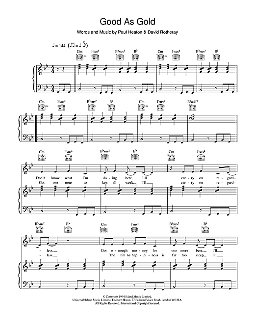 The Beautiful South Good As Gold (Stupid As Mud) sheet music notes and chords. Download Printable PDF.