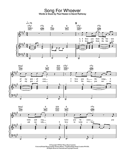 The Beautiful South Song For Whoever sheet music notes and chords. Download Printable PDF.