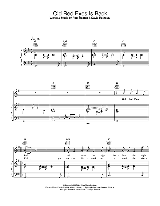 The Beautiful South Old Red Eyes Is Back sheet music notes and chords. Download Printable PDF.