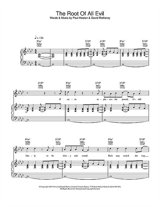 The Beautiful South The Root Of All Evil sheet music notes and chords. Download Printable PDF.