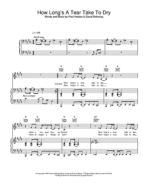 The Beautiful South How Long's A Tear Take To Dry? sheet music notes and chords. Download Printable PDF.