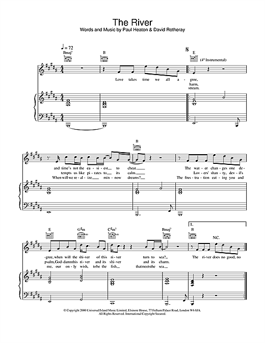 The Beautiful South The River sheet music notes and chords. Download Printable PDF.