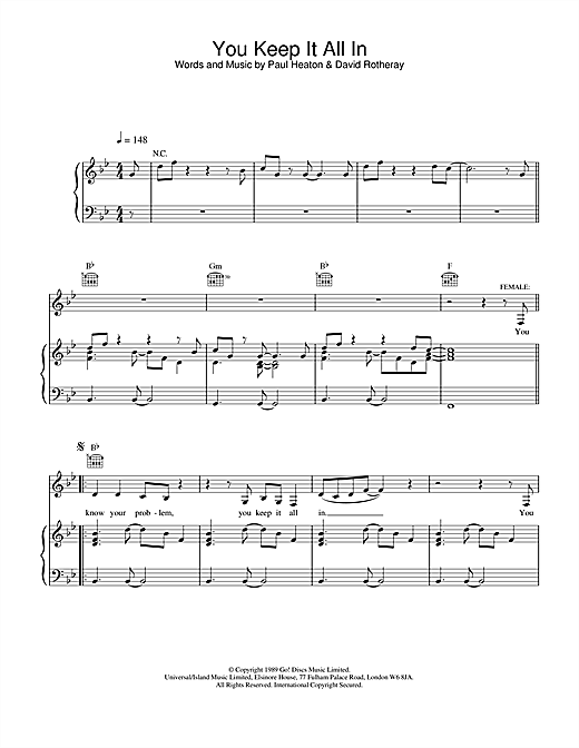 The Beautiful South You Keep It All In sheet music notes and chords. Download Printable PDF.