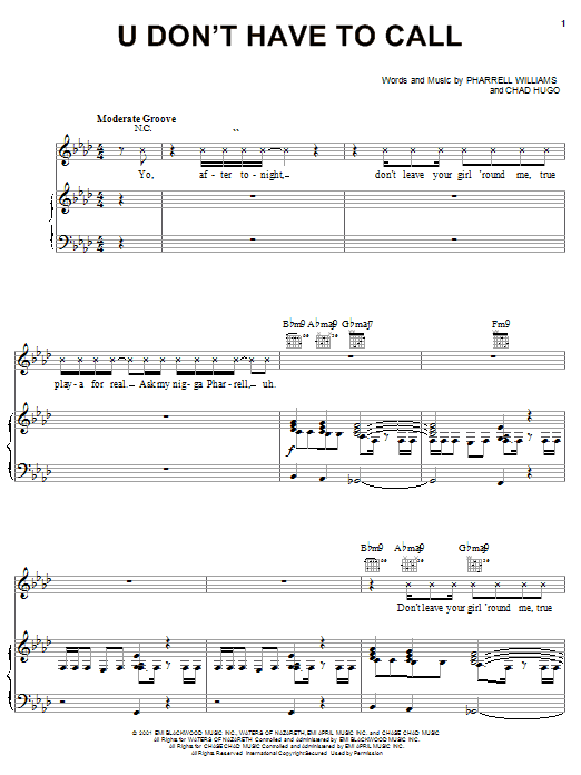Usher U Don't Have To Call sheet music notes and chords. Download Printable PDF.