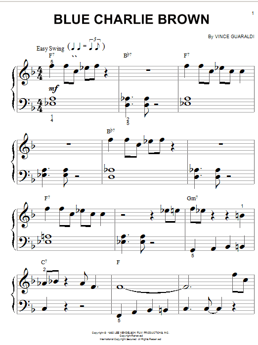 Vince Guaraldi Blue Charlie Brown sheet music notes and chords. Download Printable PDF.