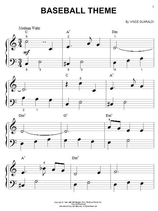 Vince Guaraldi Baseball Theme (from A Boy Named Charlie Brown) sheet music notes and chords. Download Printable PDF.