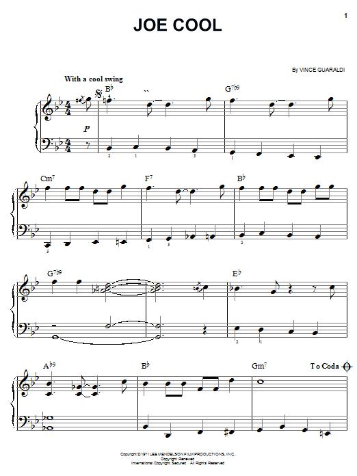 Vince Guaraldi Joe Cool sheet music notes and chords. Download Printable PDF.