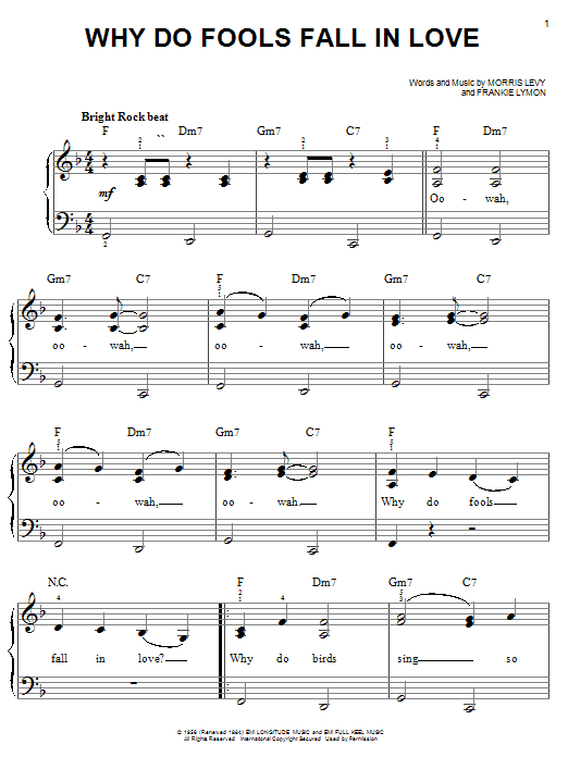 Frankie Lymon & The Teenagers Why Do Fools Fall In Love sheet music notes and chords. Download Printable PDF.