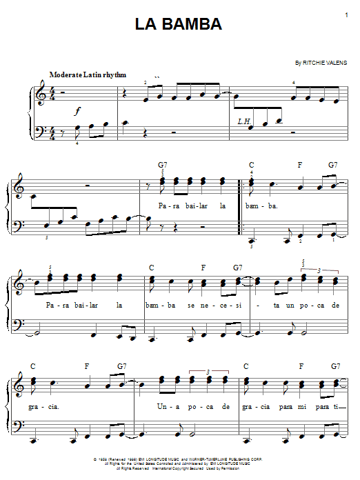 Los Lobos La Bamba sheet music notes and chords. Download Printable PDF.