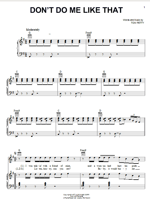 Tom Petty And The Heartbreakers Don't Do Me Like That sheet music notes and chords. Download Printable PDF.