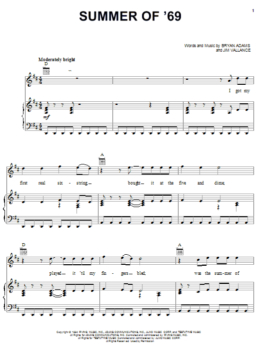 Bryan Adams Summer Of '69 sheet music notes and chords. Download Printable PDF.