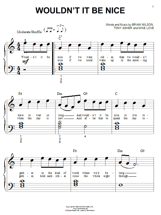 The Beach Boys Wouldn't It Be Nice sheet music notes and chords. Download Printable PDF.