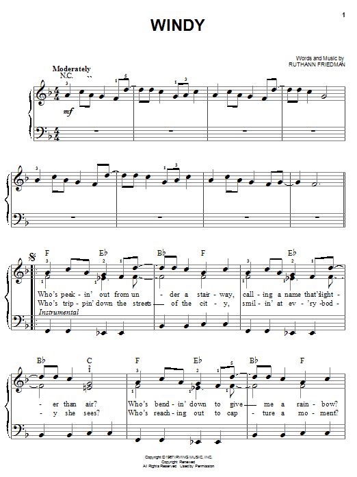 The Association Windy sheet music notes and chords. Download Printable PDF.