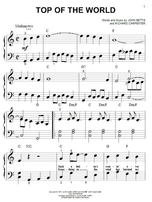 Carpenters Top Of The World sheet music notes and chords. Download Printable PDF.