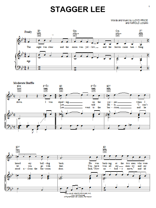 Lloyd Price Stagger Lee sheet music notes and chords. Download Printable PDF.