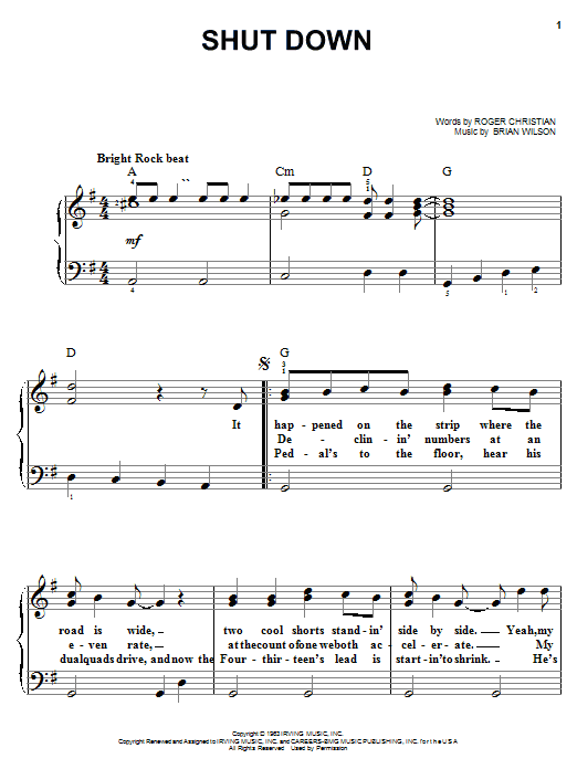 The Beach Boys Shut Down sheet music notes and chords. Download Printable PDF.