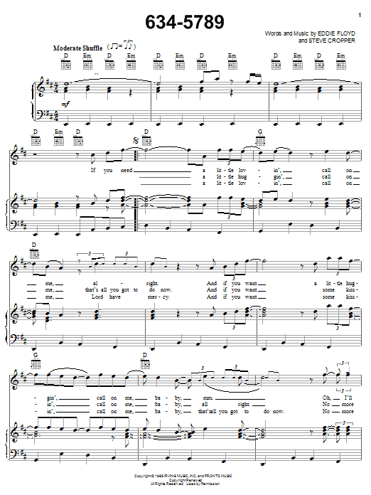 Wilson Pickett 634-5789 sheet music notes and chords. Download Printable PDF.