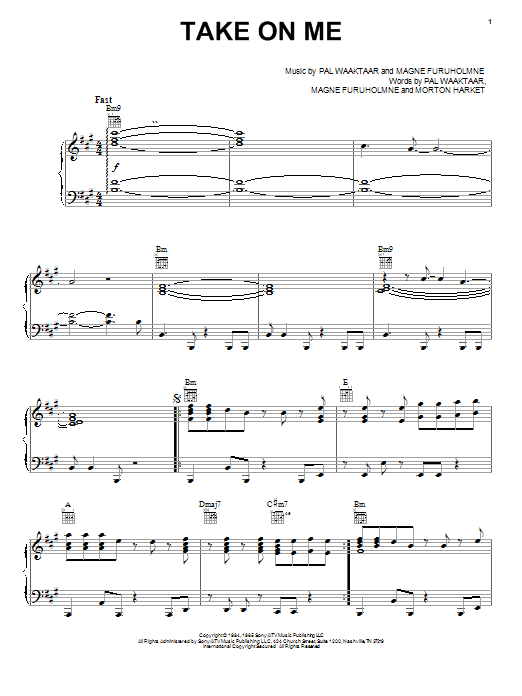 a-ha Take On Me sheet music notes and chords. Download Printable PDF.