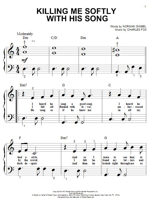 Roberta Flack Killing Me Softly With His Song sheet music notes and chords. Download Printable PDF.