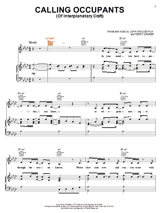Carpenters Calling Occupants (Of Interplanetary Craft) sheet music notes and chords. Download Printable PDF.