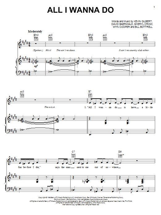 Sheryl Crow All I Wanna Do sheet music notes and chords. Download Printable PDF.