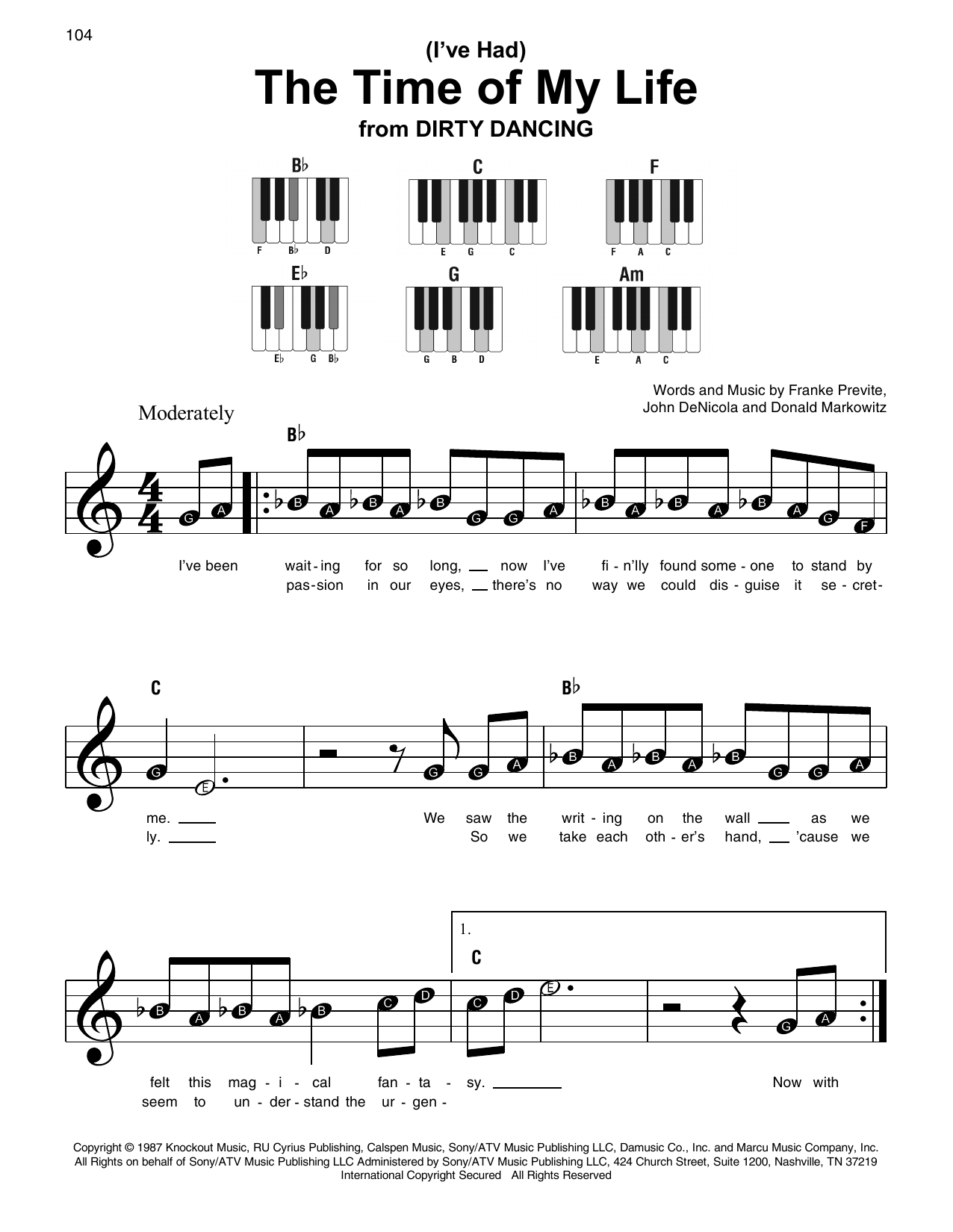 Bill Medley & Jennifer Warnes (I've Had) The Time Of My Life sheet music notes and chords. Download Printable PDF.