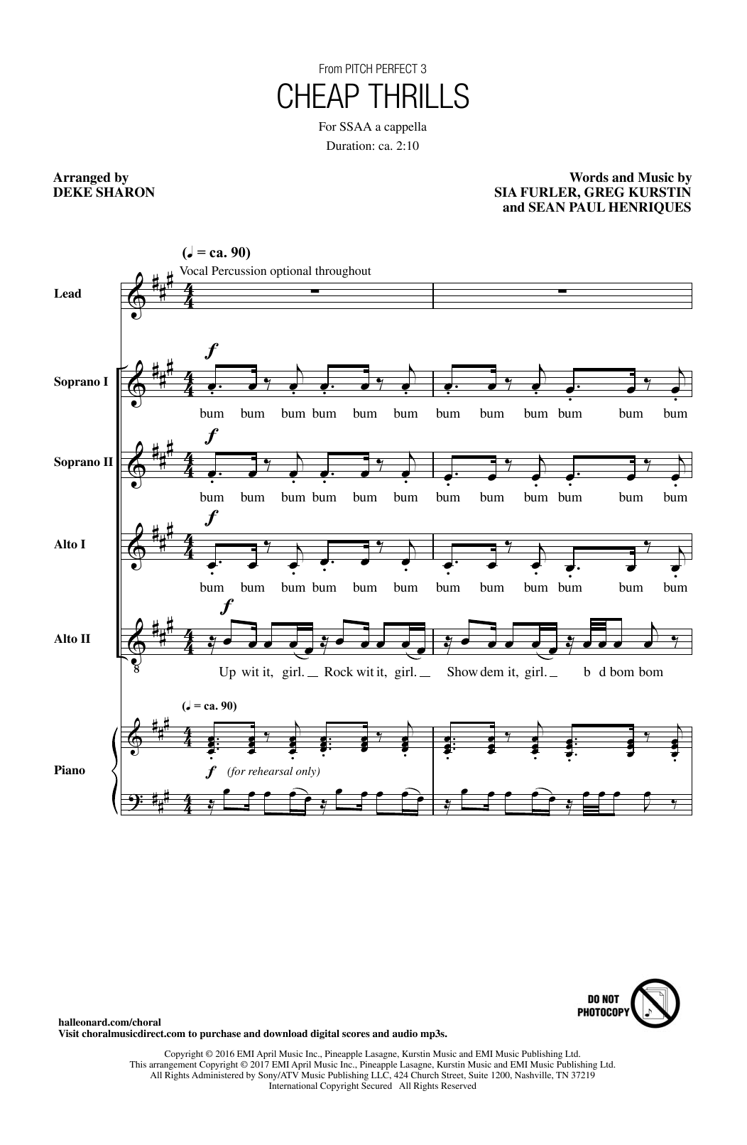 Sia Cheap Thrills (feat. Sean Paul) (arr. Deke Sharon) sheet music notes and chords. Download Printable PDF.