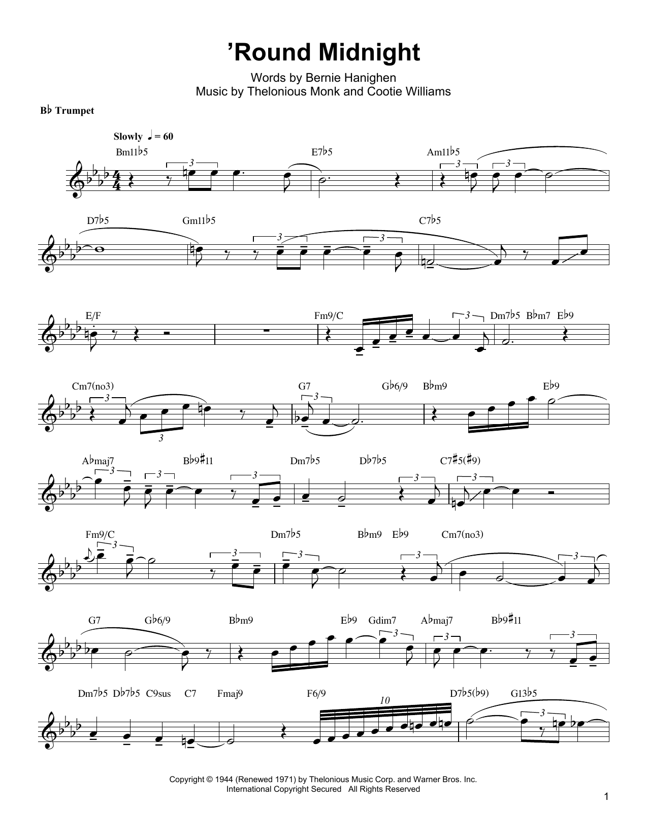 Arturo Sandoval 'Round Midnight sheet music notes and chords. Download Printable PDF.