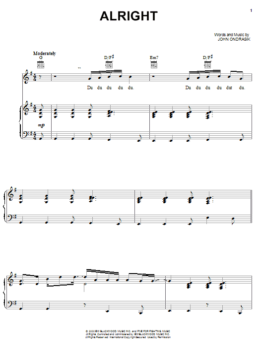 Five For Fighting Alright sheet music notes and chords. Download Printable PDF.
