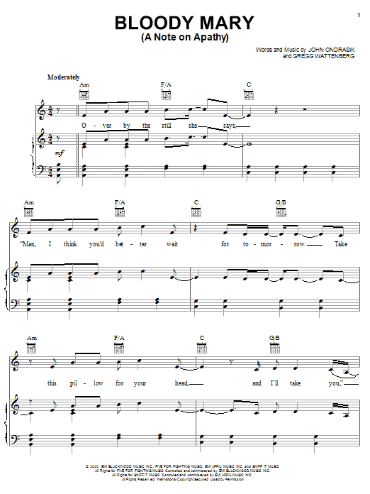 Five For Fighting Bloody Mary (A Note On Apathy) sheet music notes and chords. Download Printable PDF.