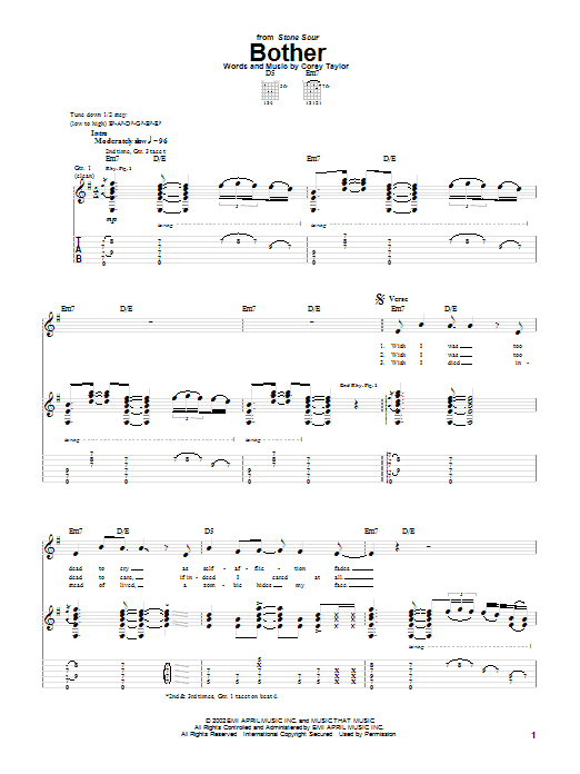 Stone Sour Bother sheet music notes and chords. Download Printable PDF.
