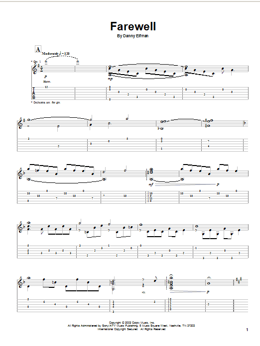 Danny Elfman Farewell (from Spiderman) sheet music notes and chords. Download Printable PDF.