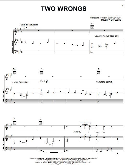 Wyclef Jean Two Wrongs (feat. Claudette Ortiz) sheet music notes and chords. Download Printable PDF.