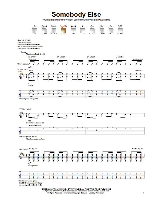 Bleu Somebody Else sheet music notes and chords. Download Printable PDF.