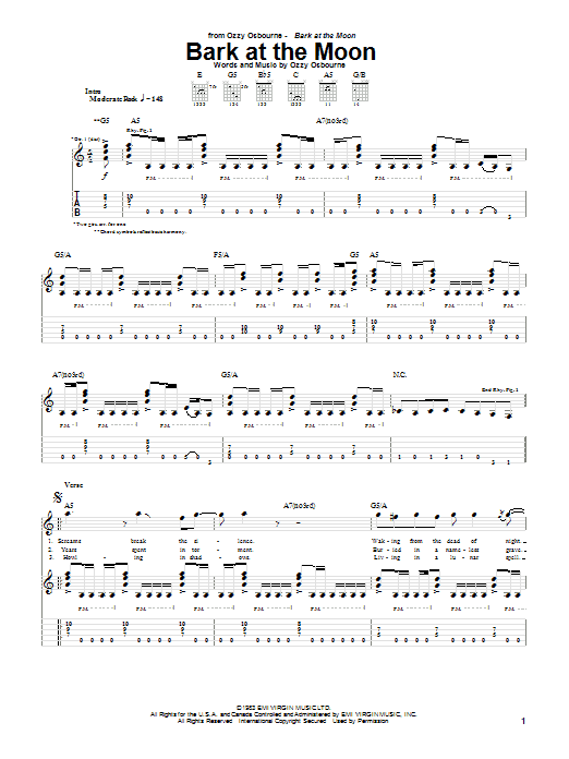 Ozzy Osbourne Bark At The Moon sheet music notes and chords. Download Printable PDF.