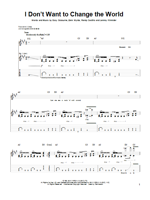 Ozzy Osbourne I Don't Want To Change The World sheet music notes and chords. Download Printable PDF.