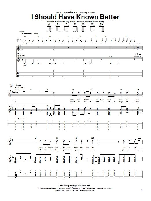 The Beatles I Should Have Known Better sheet music notes and chords. Download Printable PDF.